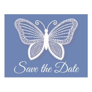 Save the Date Blue Cornflower Butterfly Engagement Postcard