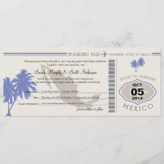 Save the Date Boarding Pass to Mexico