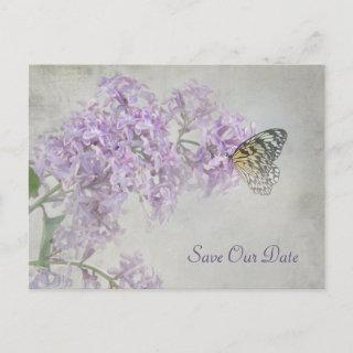 Save the Date-butterfly on lilacs Announcement Postcard