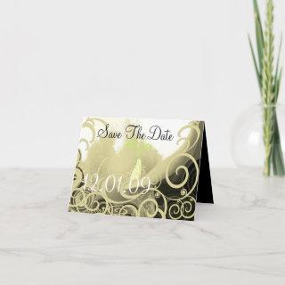 Save the Date Cala Lily - Tan and Green Announcement