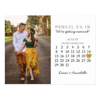 Save the Date Calendar Gold Heart August 2021 Postcard