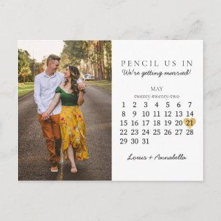 Save the Date Calendar Gold Heart May 2022 Month Postcard
