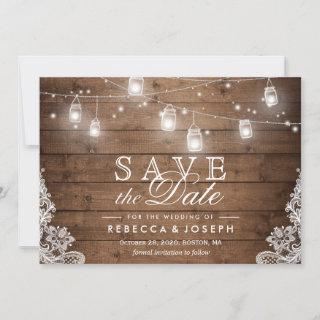 Save the Date Card Rustic Mason Jar String Lights