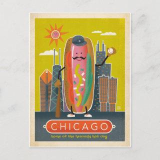 Save the Date   Chicago, IL - Hot Dog Announcement Postcard