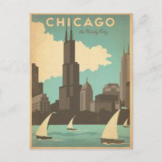 Save the Date   Chicago, IL - Windy City Announcement Postcard