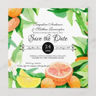 Save the Date Citrus Fruit Leaves Oranges n Lemons