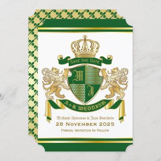 Save the Date Coat of Arms Green Gold Lion Emblem Invitation