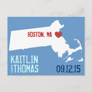 Save the Date - Customizable - Massachusetts Announcement Postcard