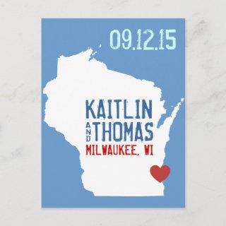 Save the Date - Customizable - Wisconsin Announcement Postcard