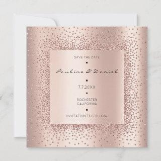 Save The Date Diamond Rose Gold Crystals Monogram