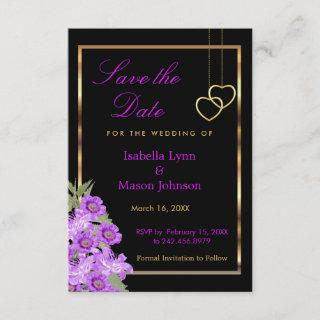Save the Date - Elegant Purple Flower Wedding