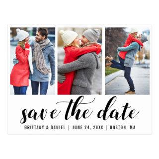 Save The Date Engagement 3 Photo Postcard