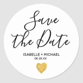 Save the Date Envelope Seals with Gpld Heart