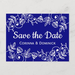 Save The Date Floral Navy Blue Wedding Flowers Postcard