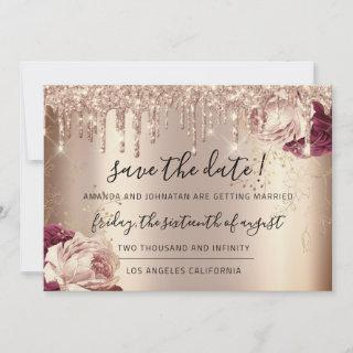 Save The Date  Florals Rose Gold Drips Marsala