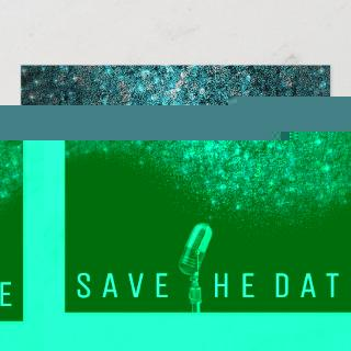 Save The Date Glitter Blue Ocean Silver Microphone