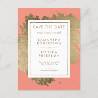 Save the Date gold brushstrokes coral autumn Announcement Postcard
