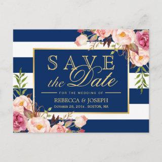 Save the Date - Gold Floral Navy Blue Stripes Announcement Postcard