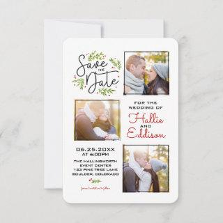 Save The Date Holiday Wedding Wreath Berries