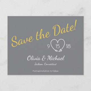 Save the Date in Yellow and Gray