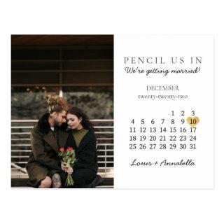 Save the Date Modern Calendar Gold Heart Dec 2022 Postcard