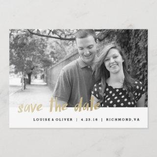 Save the Date Photo Card Gold Foil Hipster
