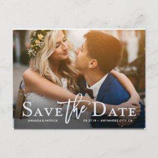 Save the Date Photo Modern Typography Wedding Announcement Postcard