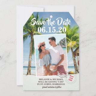 Save the Date Photo Tropical Luggage Tag