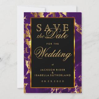 Save the Date Plum Purple and Gold Marble
