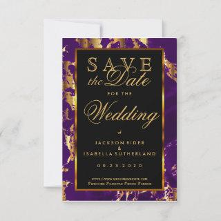Save the Date Plum Purple and Gold Marble 2