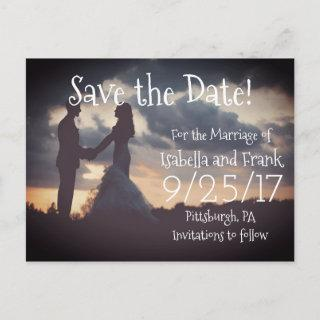 Save The Date Postcard - Couple at Sunset