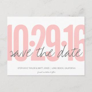 Save The Date Postcard, Large Date, blush pink Announcement Postcard
