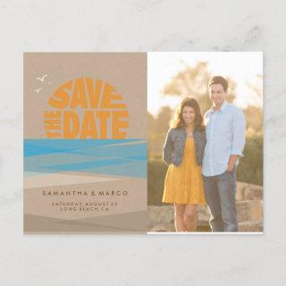 Save the Date Postcard, photo card, Beach Wedding Announcement Postcard