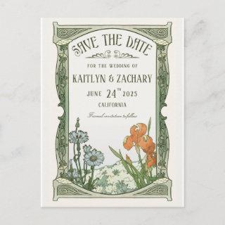 Save the Date Postcards | Floral Art Nouveau