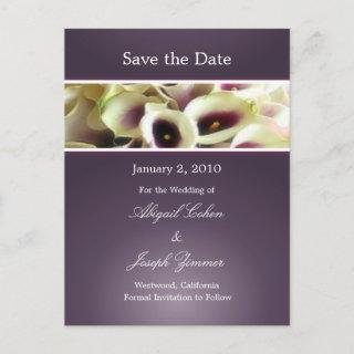 Save the date postcards, purple calla lillies announcement postcard