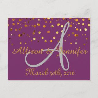 Save the date Purple and Gold Glitter Faux Foi Announcement Postcard