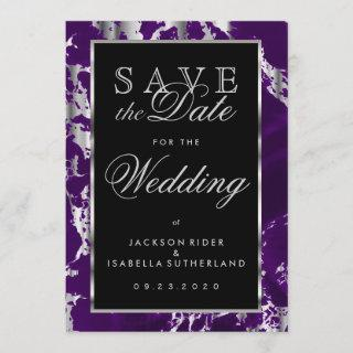 Save the Date Purple and Silver Marble