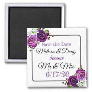 Save the Date Purple Wedding Magnet