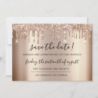 Save The Date  Rose Gold Drips Spark Glitter
