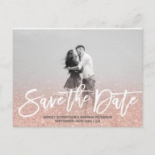 Save the Date rose gold faux glitter pink photo Announcement Postcard