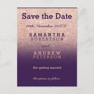 Save the Date rose gold faux glitter purple ombre Announcement Postcard