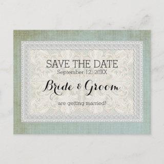 Save the Date Rustic Lace w Aged Vintage Linen Announcement Postcard