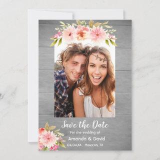 Save the date rustic photo card dahlia flowers