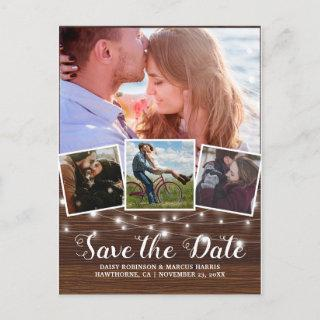 Save The Date Rustic Wood 4 Photo Announcement Postcard