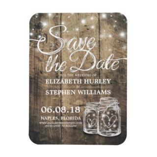 Save The Date Rustic Wood Mason Jar String Lights Magnet