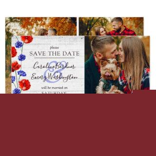 Save The Date Rustic Wood Red Poppy 4-Photo Card