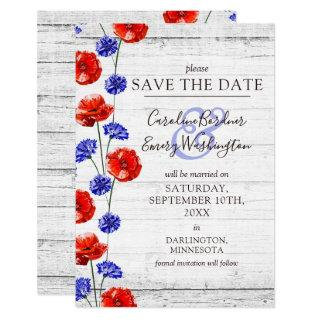 Save The Date Rustic Wood Red Poppy Floral Card