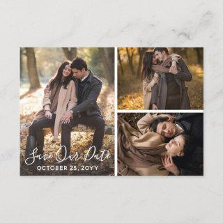 Save The Date Rustic Wood Wedding Photo Collage