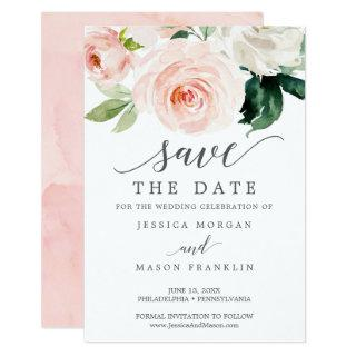 Save the Date - Save Our Date - Blushing Blooms Invitations