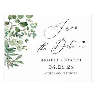 Save the Date Script Simple Elegant Eucalyptus Postcard